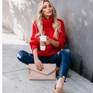 Red Extra Thick & Chunky Knit Turtleneck Sweater